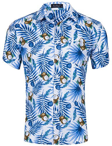 Hibiscus Aloha Shirt Mens - XI PENG Men's Tropical Short Sleeve Floral Print Beach Aloha Hawaiian Shirt (Blue White Coconut Palm, Large)