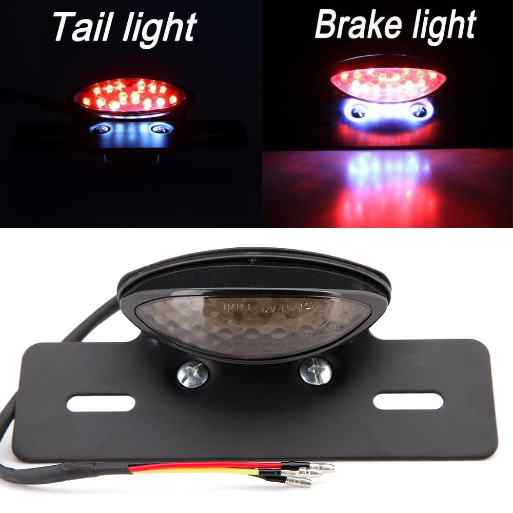 Motorcycle Led Stop Tail Brake Lights License Plate Lamp (Smoke Lens) Rich Choices