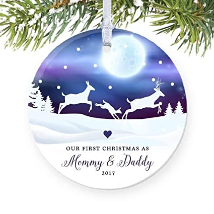 CELYCASY Deer Family 1st Christmas as Mommy & Daddy 2017, New Parents  Ornament, Porcelain - Amazon.com: CELYCASY Deer Family 1st Christmas As Mommy & Daddy 2017