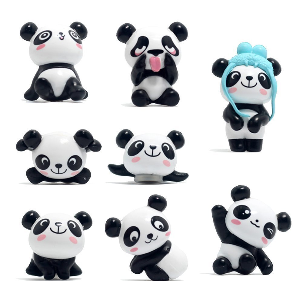 DEBON 8 Pack Fridge Magnets 3D Panda Refrigerator Office Magnets for Calendars Whiteboards Maps Resin Fun Dry Erase Board Magnetic for School Home Decoration Cute Fun Animal Magnets (color 1)