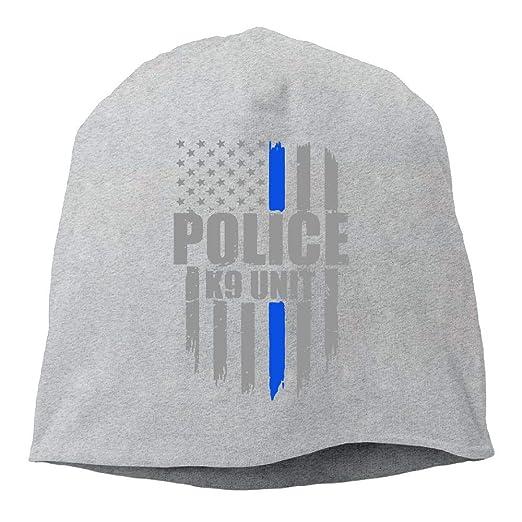da89e7e27 Police K9 Unit Thin Blue Line Flag Skull Cap Thin Knit Cap Men ...