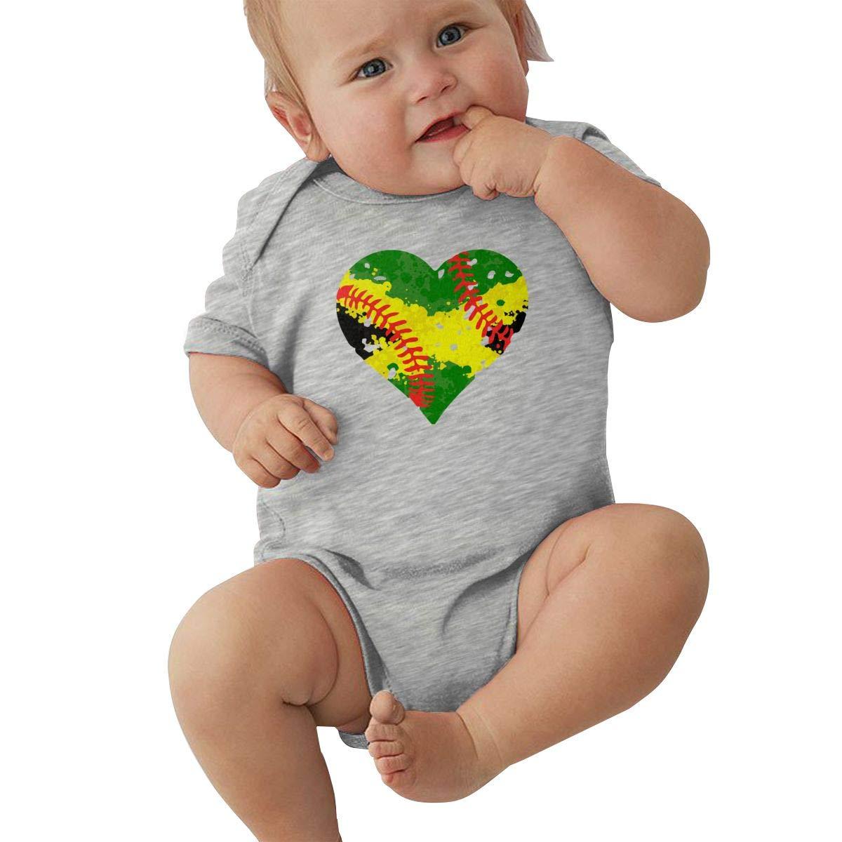 Jamaica Flag Splatter Softball Infant Baby Girl Boy Romper Jumpsuit Short Sleeved Bodysuit Tops Clothes