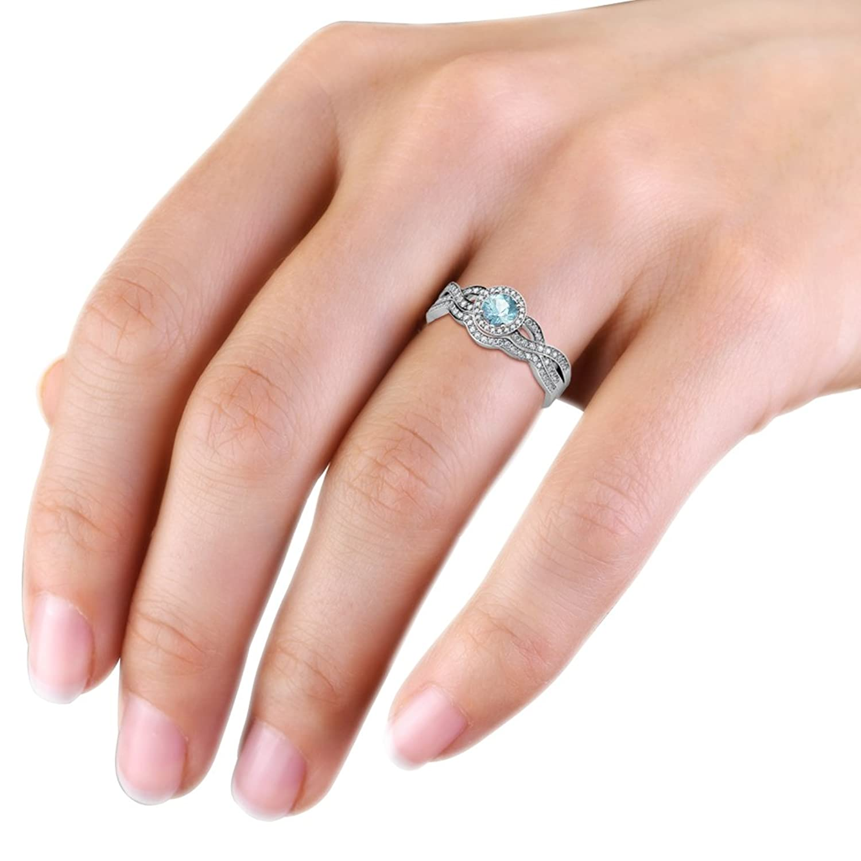 Amazon.com: Aquamarine & Diamond Swirl Halo Engagement Ring ...