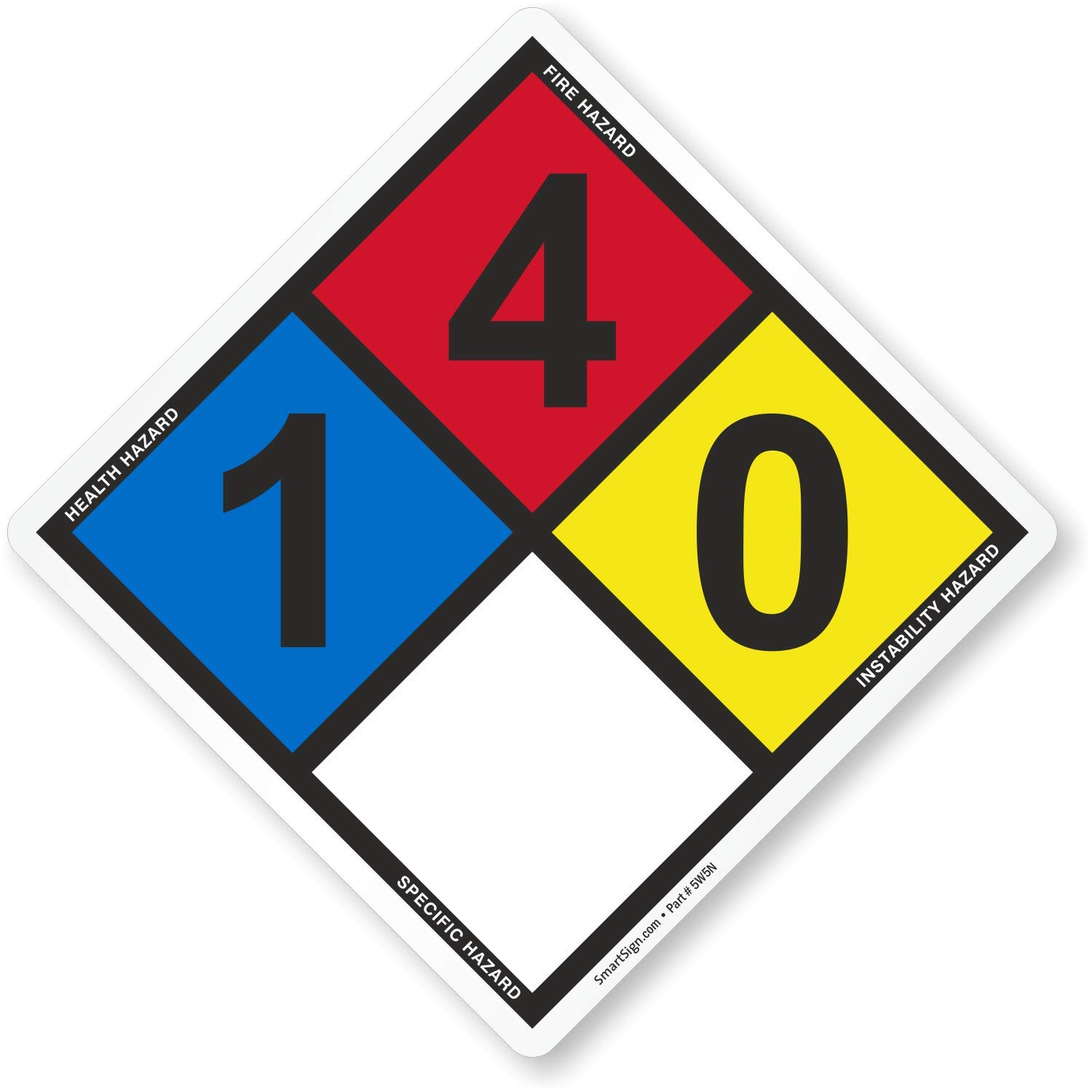 SmartSign Vinyl Adhesive NFPA Sign, 'Rating Legend for Isobutylene Storage Area', 14.2' tall diamond (point to point), Black/Blue/Red/Yellow on White (pack of 5) Rating Legend for Isobutylene Storage Area 14.2 tall diamond (point to point) Lyle Signs