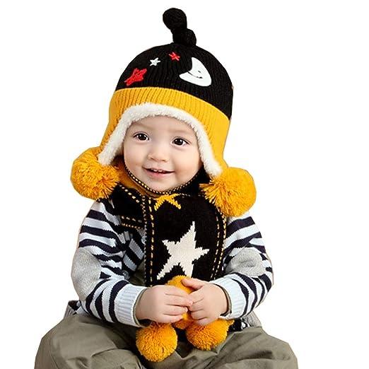 1c5a3e7fe8e2 Amazon.com  2-Pieces Baby Girls Boys Toddler Cute Star Winter Hat ...