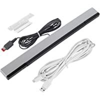 Pasa el mouse encima de la imagen para aplicar zoom Barra de Sensor de Infrarrojos con Cable para Nintendo Wii y Wii U con Cargador, AFUNTA 8.5 pies Controlador de Movimiento IR Ray, con 10 pies Cable de Cargador USB