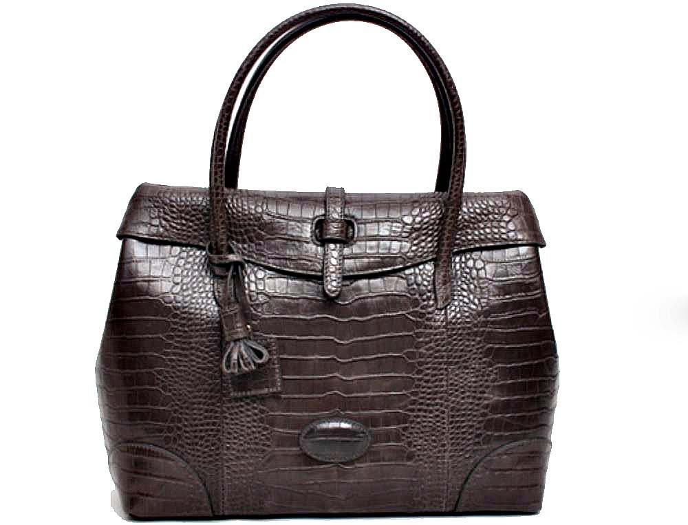Fashion Crocodile Pattern Leather Shoulder Handbag 4 Color (Grey) by PRISTINE&BB (Image #1)
