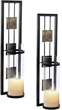 Shelving Solution Wall Sconce Candle Holder Metal Wall Decorations For Living Room Bathroom Dining Room Set Of 2