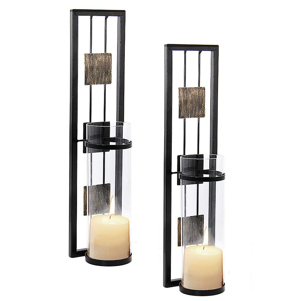 Shelving Solution Wall Sconce Candle Holder Metal Wall Decorations for Living Room, Bathroom, Dining Room, Set of 2 by Shelving Solution