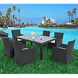 Merax 7-piece Outdoor Wicker Dining set - Dining table set for 6 - Patio Rattan Furniture Set with Beige Cushion (Black)