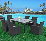 Merax 7 Pieces Outdoor Dining Set with Glass Top PE Wicker Rattan Patio Garden Furniture Set (Black)