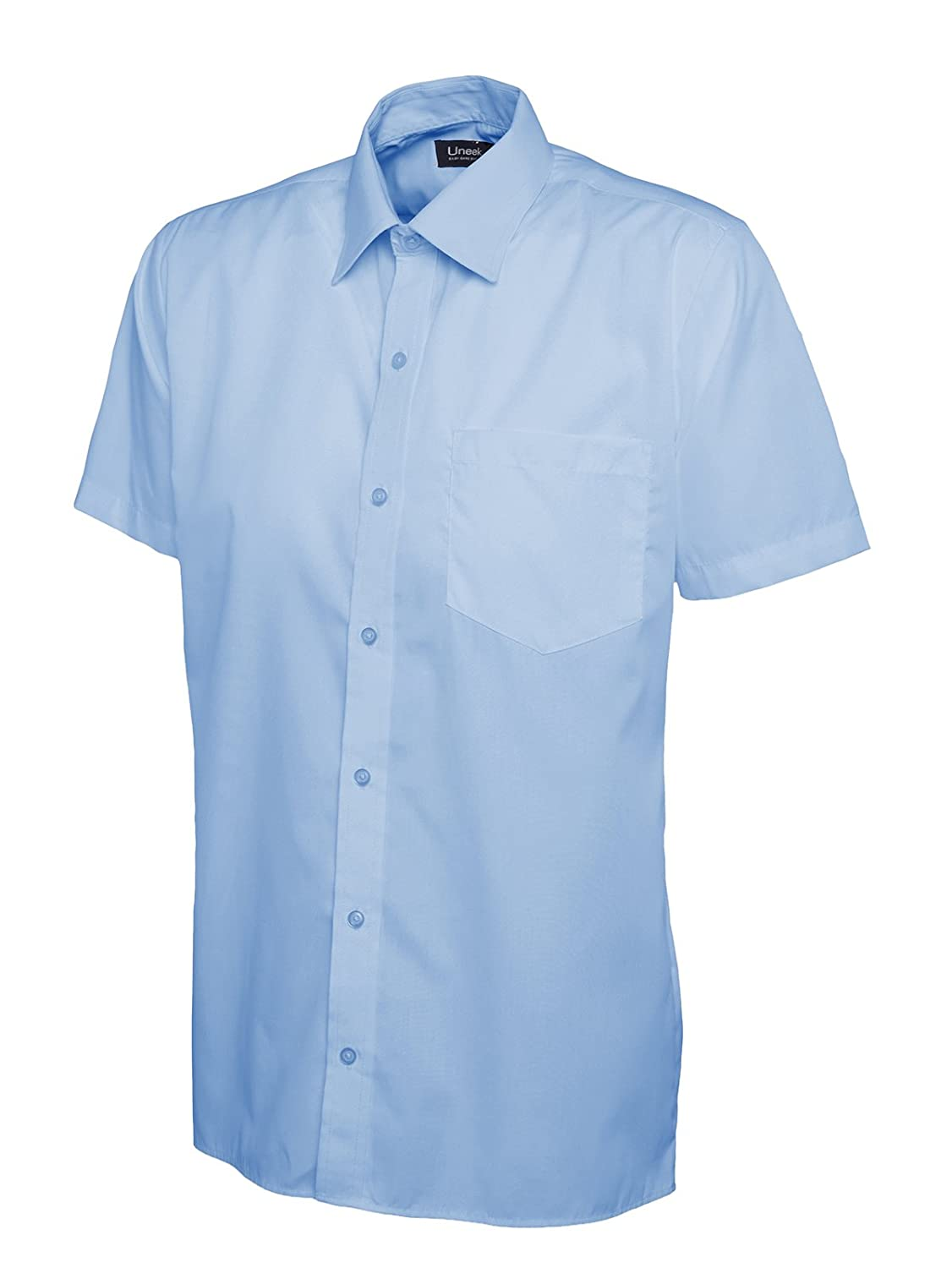 247-Clothing Mens Classic Short Sleeve Shirt Poplin Office Casual Easy Care Colours