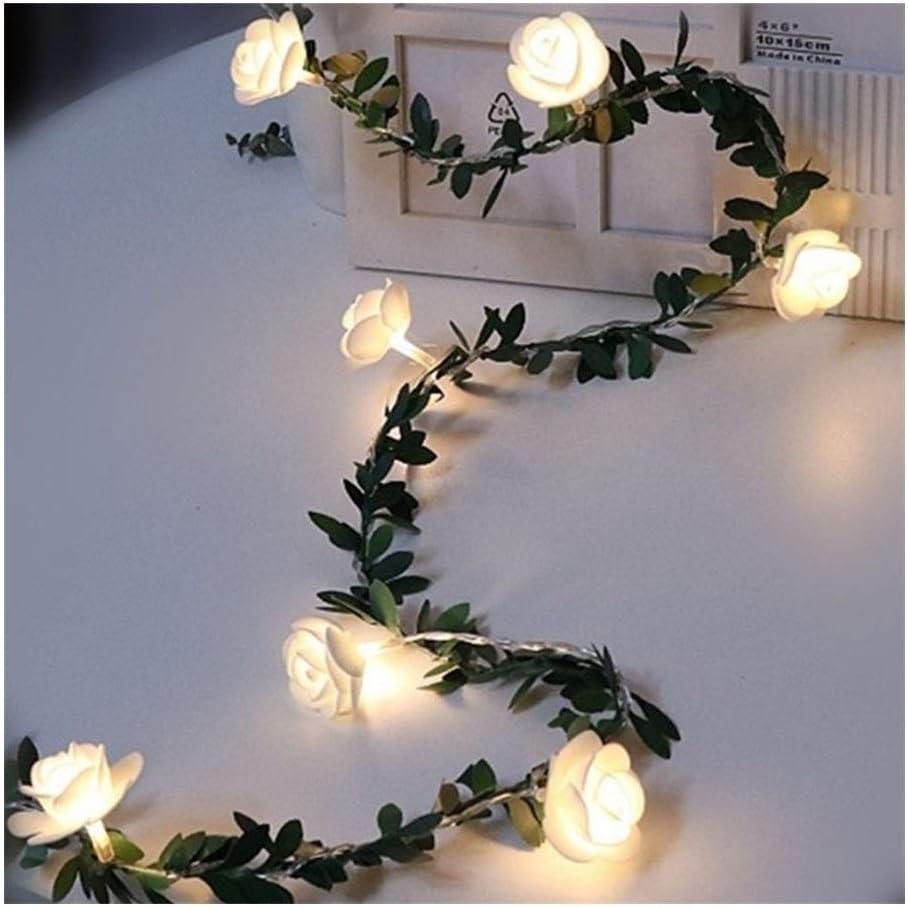 Nekovan バラの花のつるの文字列のLEDライトデコレーショングリーンリーフガーランドバッテリー/ USB搭載3メートル6メートルウォームホワイトクリスマスライト (色 : USB, サイズ : 3M)