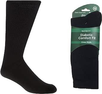 5 Pairs Men DIABETIC BAMBOO Socks Work Socks Medical Loose Top Crew Cushion Bulk New