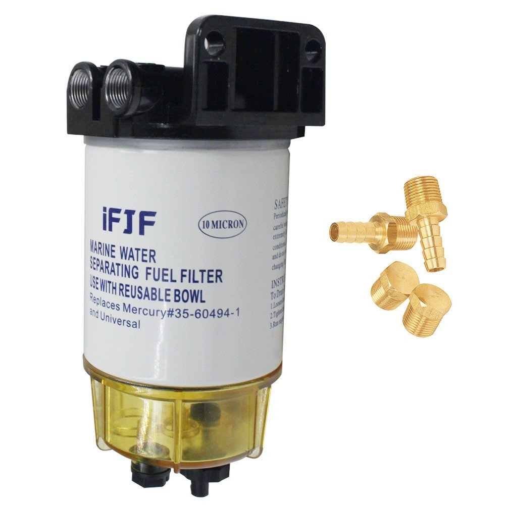 iFJF Aluminum Fuel Water Separating Filter fit 3/8 Inch NPT Outboard Motors