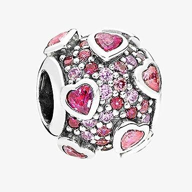 BAKCCI Breloque en forme de cœur rose en argent 925 pour bracelet Pandora  original