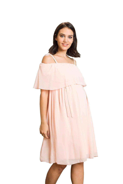 Damen Off-The-Schulter Abendkleid mit R/üschen Cocktail-Schwangerschaftskleid Partykleid Knielang schulterfrei M.M.C Chiffon Umstands-Kleid