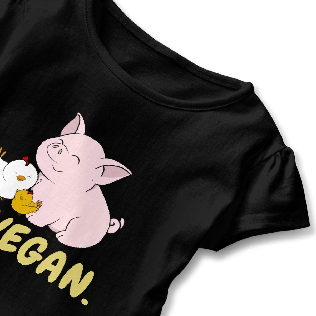 Go Vegan Cute Pig and Chicken T-Shirt Toddler Girls Flounced T Shirts Soft Graphic T-Shirt for 2-6T Baby Girls