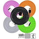 UNISAME [Pack of 5Pcs] 10Ft 3Meter Rugged Nylon Braided 30 Pin USB Charger Cord Charging & Sync Data Extension Cable for iPhone 4 4S 3GS 3G, iPad 2, iPad 3, iPod Touch 1/2/3/4 (Black, White, Pink, Orange, Light Green)