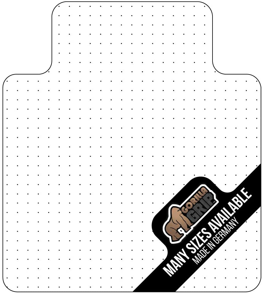 Gorilla Grip Premium Polycarbonate Studded Chair Mat for Carpeted Floor, 48x36 Heavy Duty Easy Glide Transparent Mats for Desk Chairs, Good for Desks, Office and Home, Protects Floors, with Lip, Clear