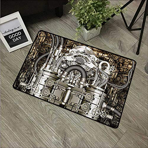 HRoomDecor Modern,Door mat Two Cylinder Engine Engineer Bikes and Cars Lovers Inspired Image Photo W 24