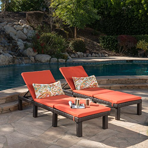 Joyce Outdoor Multibrown Wicker Chaise Lounge with Orange Water Resistant Cushion (Set of 2)
