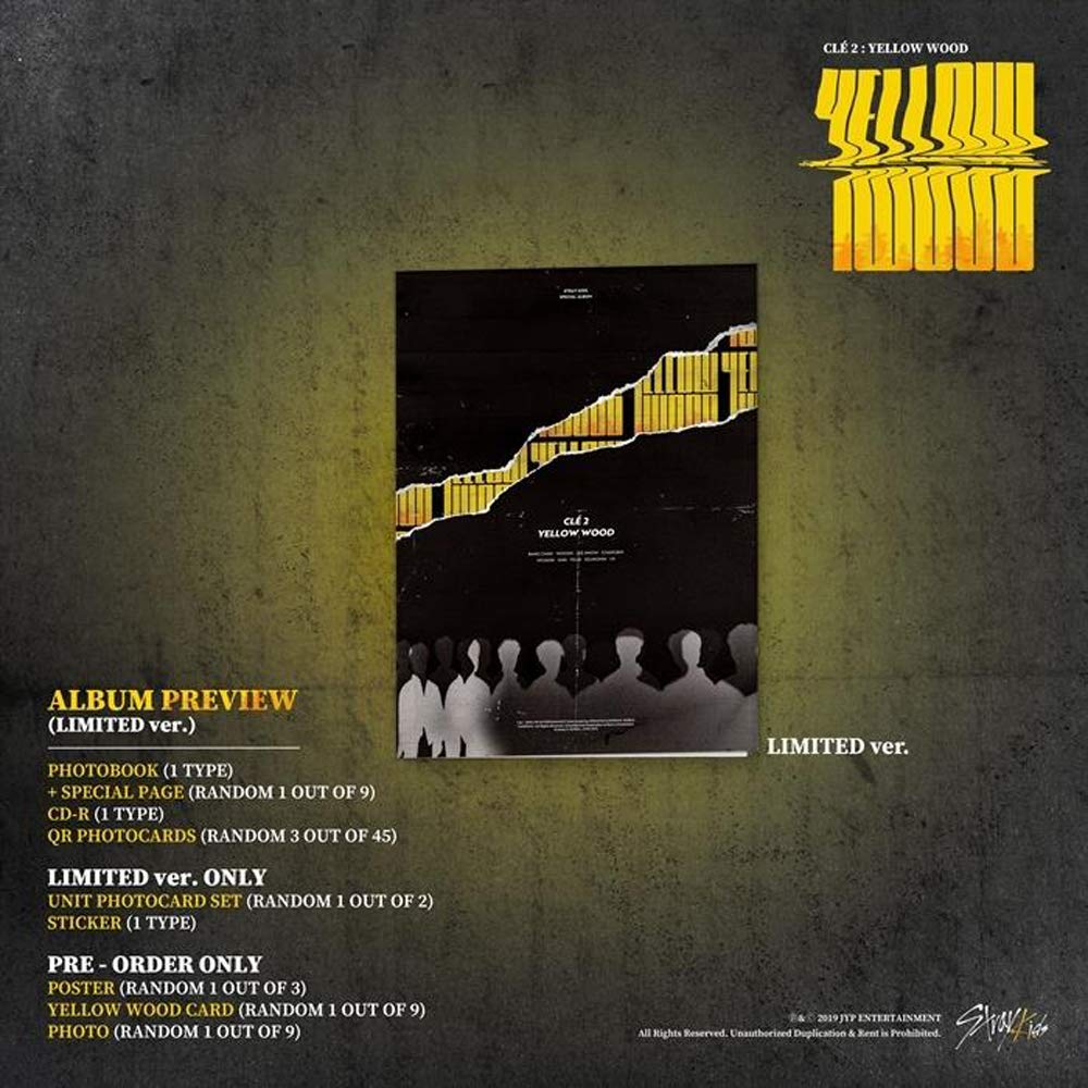 Stray Kids - Clé 2 : Yellow Wood [Limited ver.] (Special Album) CD+Photobook+3Photocards+Unit Photocards+Sticker+Pre-Order Benefit+Folded Poster+Double Side Extra Photocards Set by JYP (Image #2)