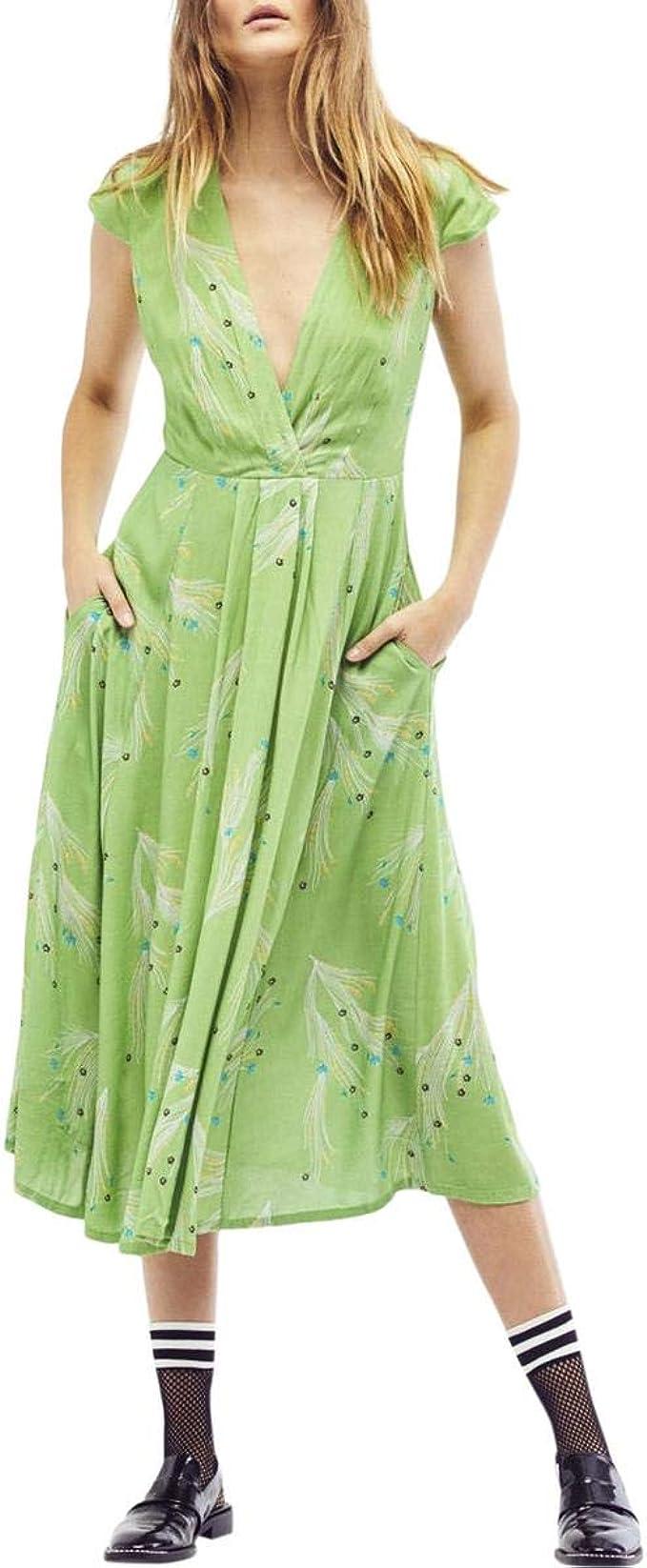 People Damen Midi-Kleid, Grün 19: Amazon.de: Bekleidung