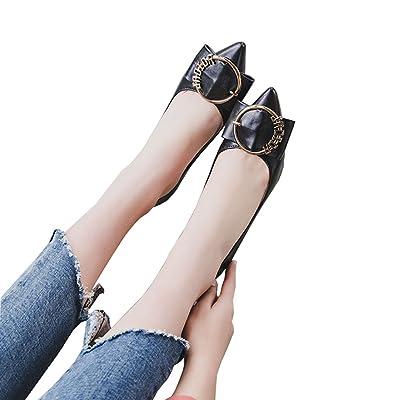 6cm noir, chaussures pointues, talons hauts talon peu profond, chaussures de travail professionnel boucle ronde ( Couleur : Black6cm , taille : 36 )
