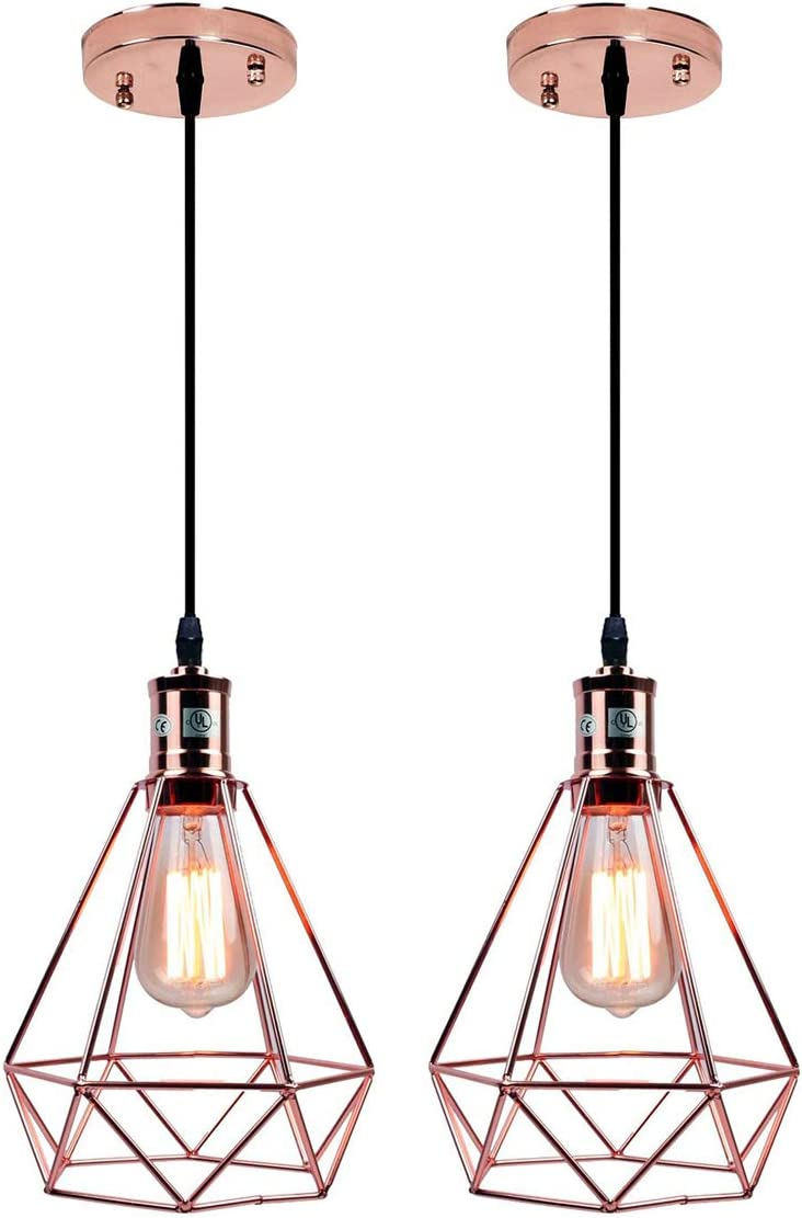 Pauwer Geometric Metal Cage Pendant Light Pyramid Vintage Edison Ceiling Pendant Light Fixture Rose Gold Pack of 2
