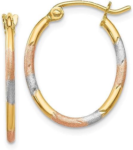 14kt /& Rhodium Polished; Satin /& D//C Hoop Earrings