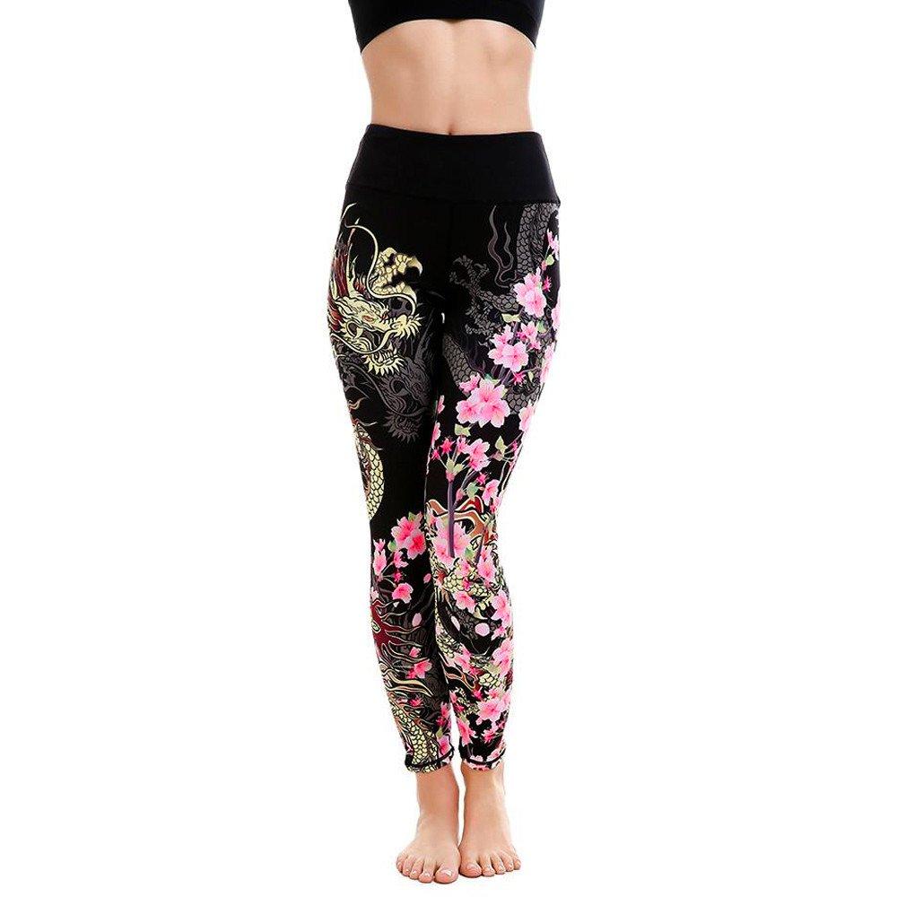 VECDUO Womens Dragon Flower Print Slim Sports Yoga Pants Gym Exercise Bodybuilding Leggings