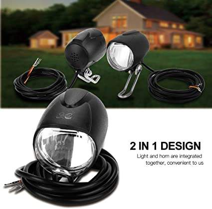 Electric MTB Bike Bicycle Scooter Headlight Front Light 2-In-1 Horn LED Lamp