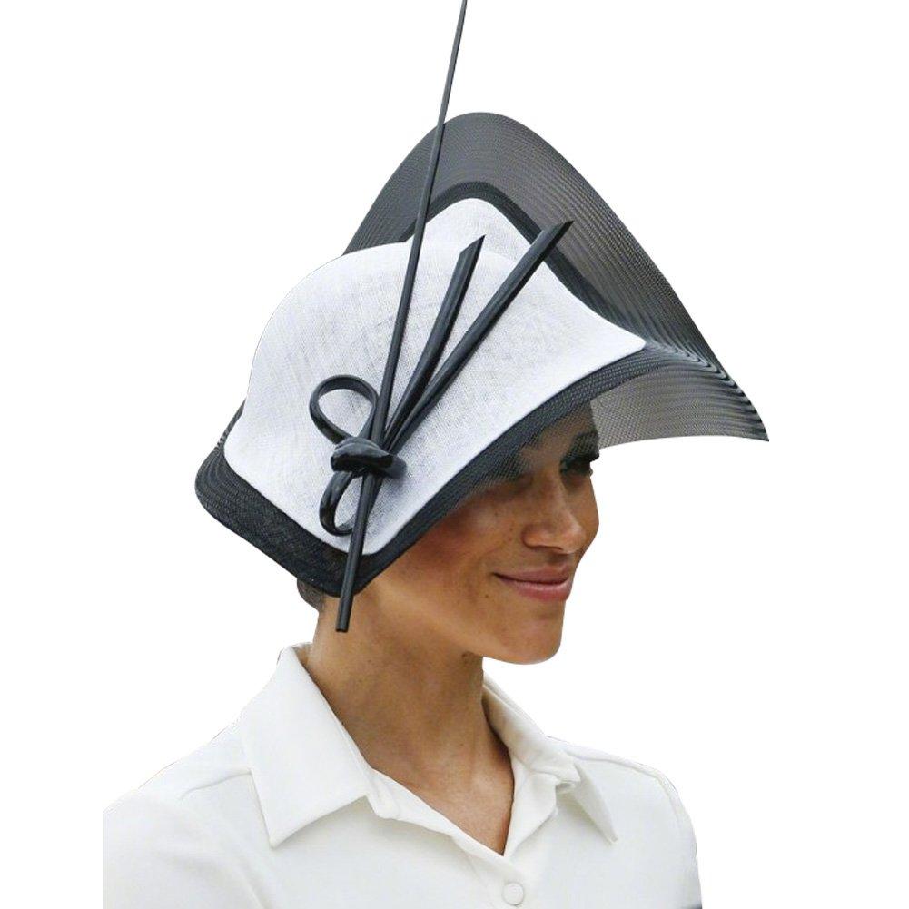 Koola's hats Sinamay Net Fascinator Wedding Vintage Headwear Ladies Cocktail Party White Black