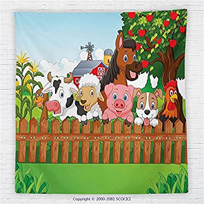 59 x 59 Inches Cartoon Decor Fleece Throw Blanket Collection of Cute Farm Animals on the Fence Comic Mascots with Dog Cow Horse for Kids Decor Blanket Multi