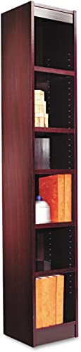 Alera ALE Narrow Profile Bookcase, Wood Veneer, Six-Shelf, 12w x 11-3 4d x 72h, Mahogany
