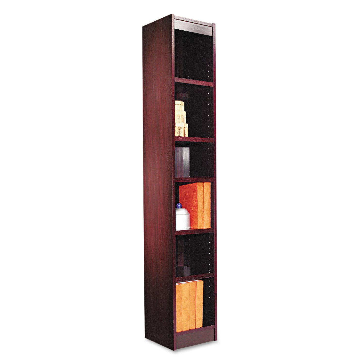 Alera Narrow Profile Bookcase, Finished Back, Wood Veneer, 6-Shelf, 12 W by 12 D by 72 H, Mahogany