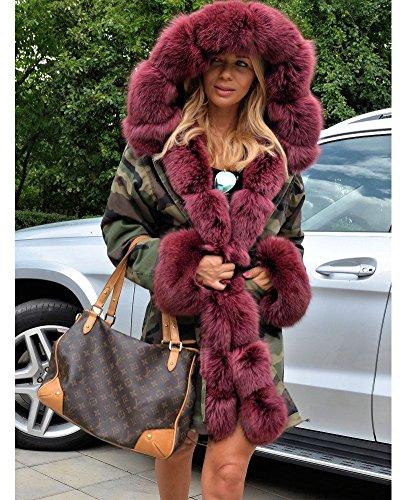 Retro Winter Coat Red Fur 20 UK Faux Red Size Roiii Hooded Plus Wine Jacket 14 Coat Over Wine Women 8 Outwear Parka 0WqHSdO