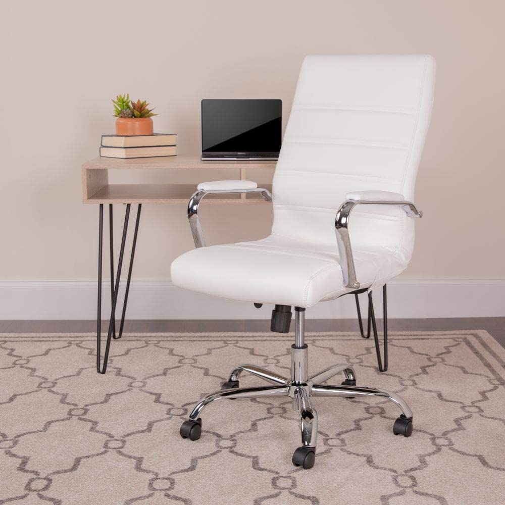 Flash Furniture High Back Office Chair  White LeatherSoft Office Chair  with Wheels and Arms