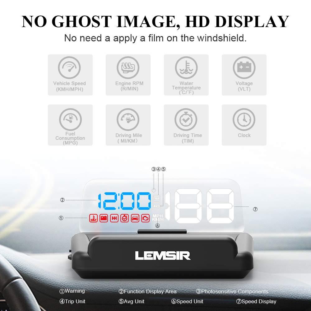 Head-Up Display, LEMSIR Car HUD Speedometer OBD II/EUOBD Interface with Foldable Display Board, Digital HD LED Projector Display Speed MPH Driving Reminder Alarm Light Sensor by LEMSIR (Image #2)