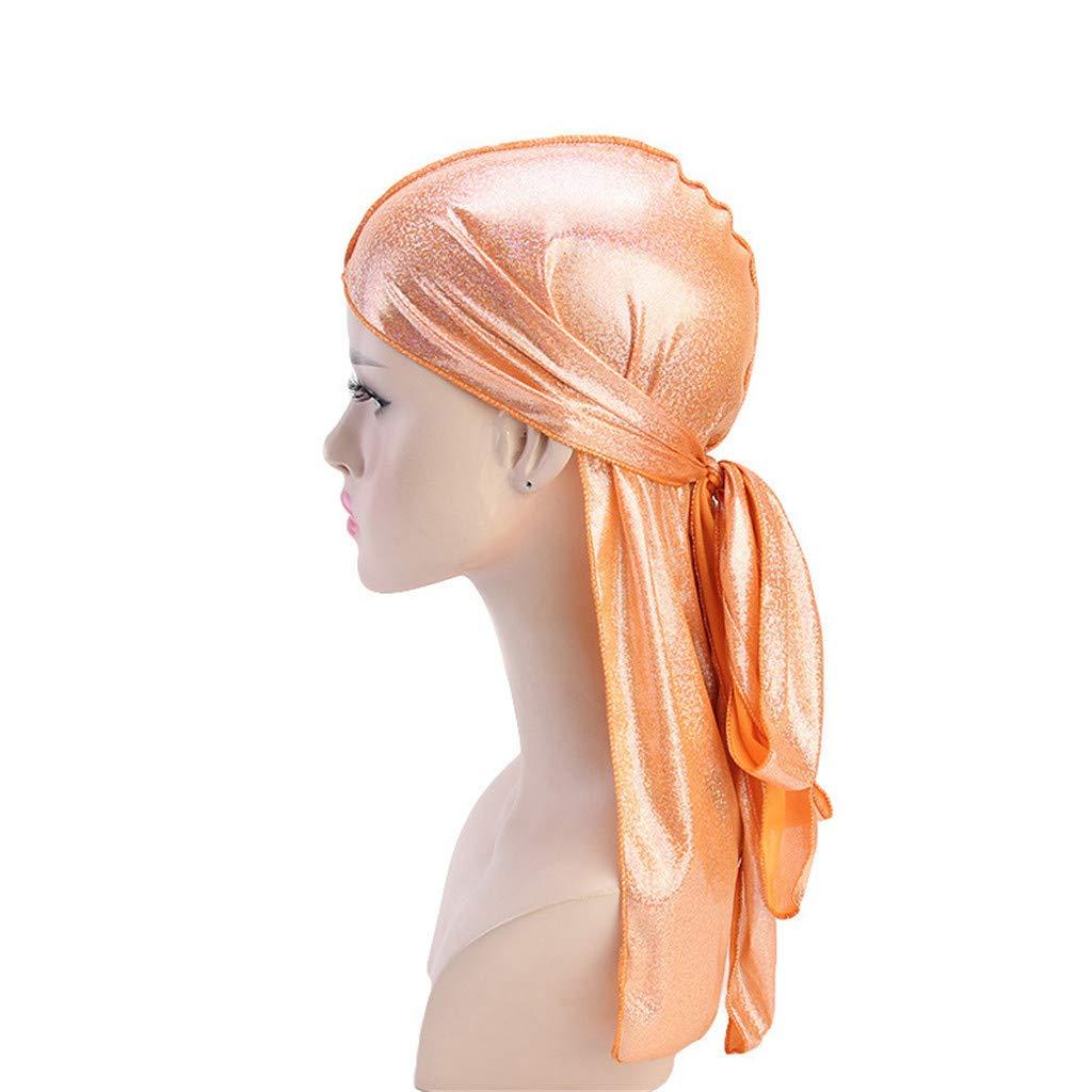 Midress Men/Women Polyester Muslim Bandana Hat, Fashion Women Colorful Muslim Hat Stretch Retro Turban Hat Head Wrap Cap Headwear Gift (Orange)