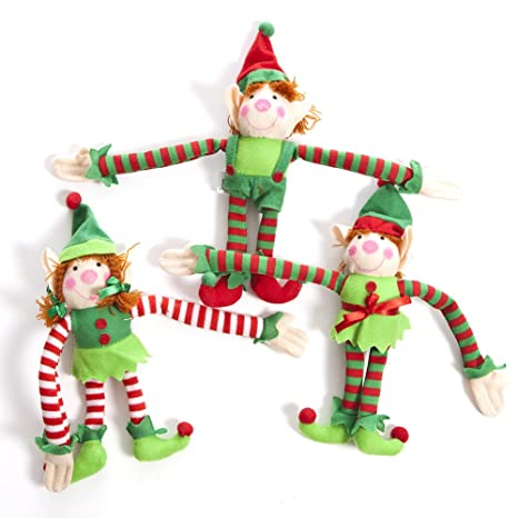 fun express deluxe plush hanging christmas elves party favors 12 pieces - Elf Christmas Decorations