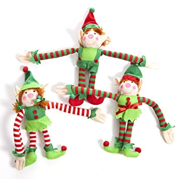amazoncom fun express deluxe plush hanging christmas elves party favors 12 pieces toys games