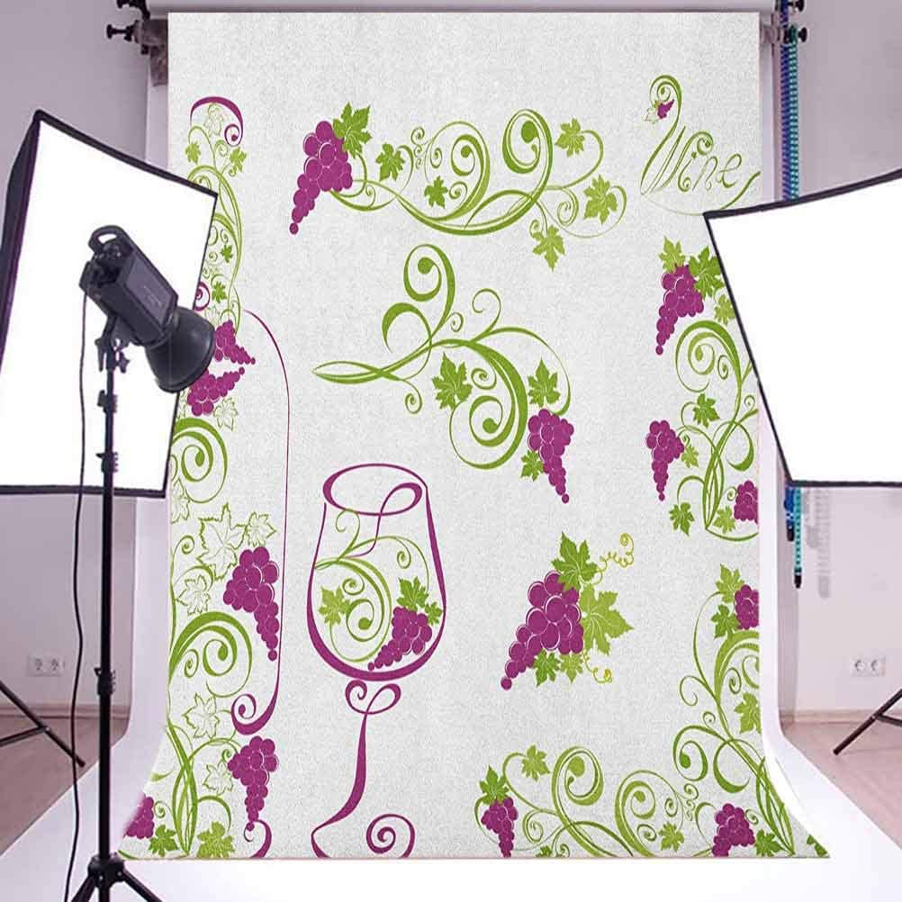 7x10 FT Wine Vinyl Photography Background Backdrops,Wine Bottle and Glass Grapevines Lettering with Swirled Branches Lines Background for Photo Backdrop Studio Props Photo Backdrop Wall