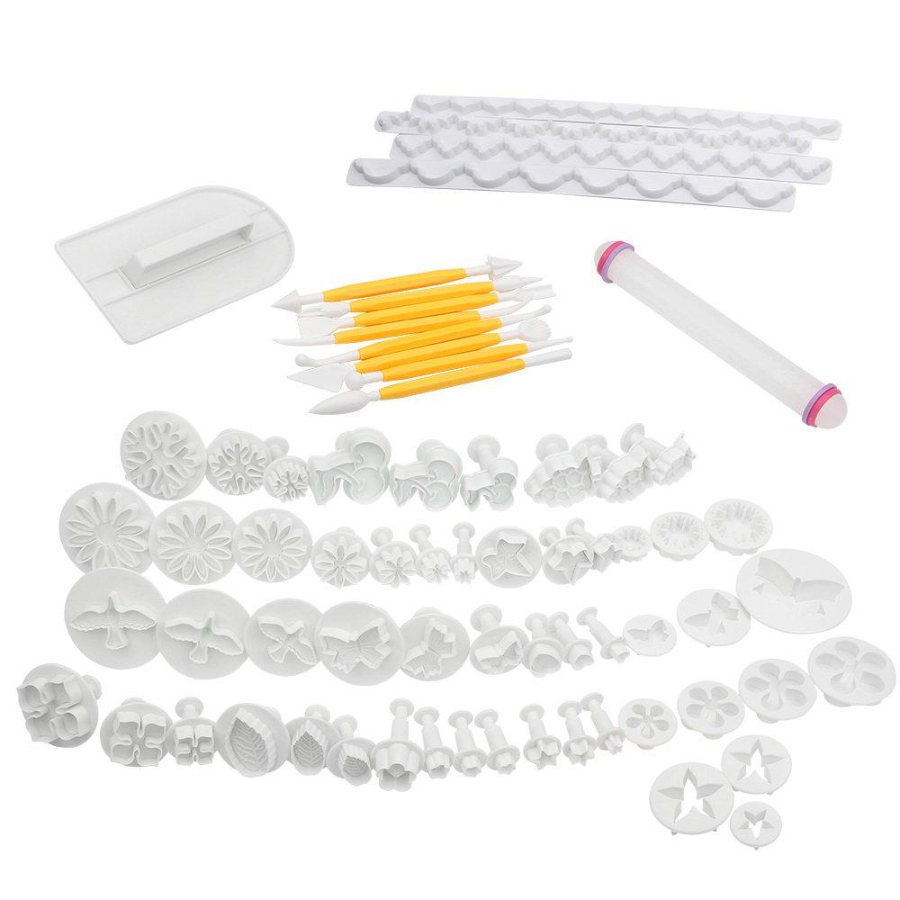 Uten 68pcs Kit de Herramientas de Decoración de Pasteles / Cortadores del Émbolo Fondant para Decoración