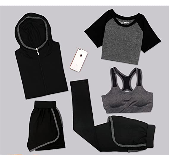 24b49ea52 Amazon.com: Ruick Women's Yoga Sport Suit Set 5 Piece Female Short-Sleeved  Pants Outdoor Quick Drying Sportswear Running Clothes Athletic Tracksuits:  ...