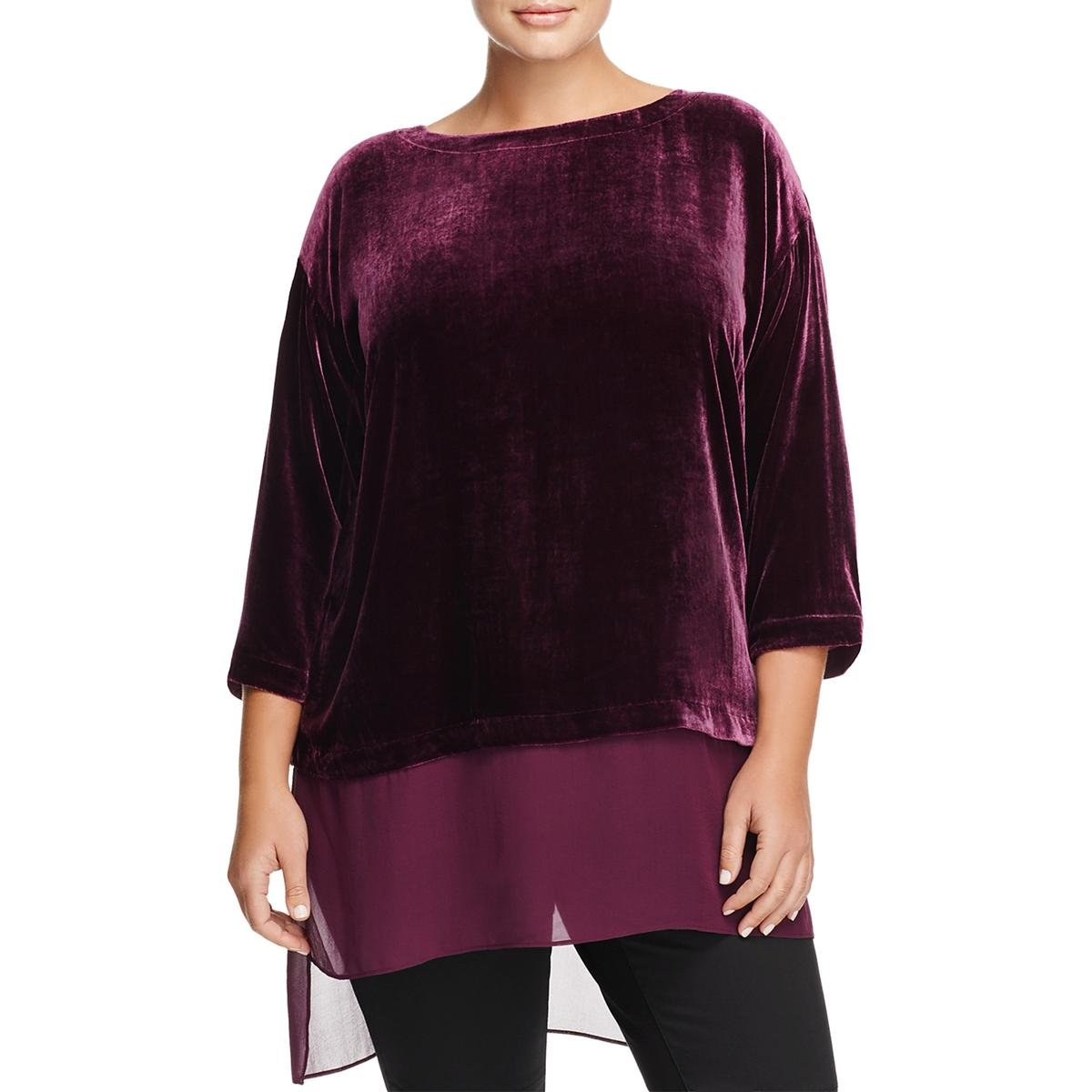 Eileen Fisher Womens Plus Bateau Neck Velvet Casual Top Purple 2X