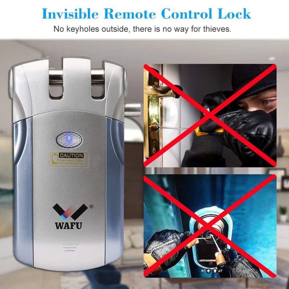 WF-018 Cerradura Inal/ámbrica Inteligente Cerradura Control Remoto Cerradura Invisible con 4 Control Remotos Plata