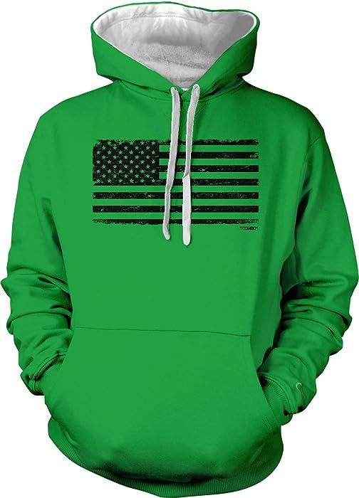 0c8f0add Distressed Black USA Flag - Patriotic Unisex Two Tone Hoodie Sweatshirt  (Kelly Green/White