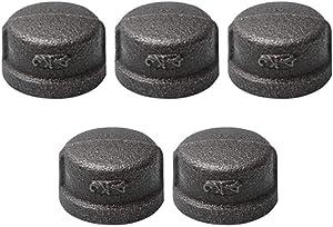 HONGLU 3/4 Inch Pipe Fitting Cap, Black Malleable Iron Cast Pipe Caps for Steam-Punk Vintage Shelf Bracket DIY Plumbing Pipe Decor Furniture, 5 Packs